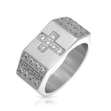 Bling Jewelry Stainless Steel Greek Key Mens CZ Cross Ring