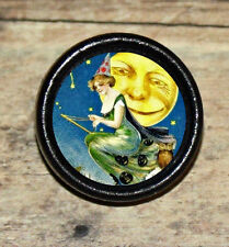 Halloween FULL MOON WITCH broom moon Altered Art Tie Tack or Ring or Brooch pin