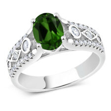 1.76 Ct Oval Green Chrome Diopside 925 Sterling Silver Ring