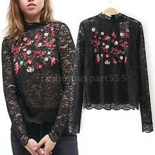 Women Blouse Sheer Lace Floral Embroidery Long Sleeves Pullover Vintage Top T2Q6