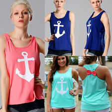 Women's Summer Bow Vest Blouse Sleeveless Anchor Print T-Shirts Casual Tank Tops