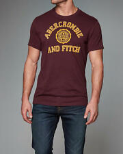 Abercrombie & Fitch T-Shirt Mens Applique Graphic Tee Shirt L Burgundy NWT