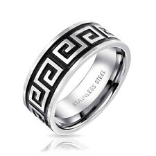 Bling Jewelry Greek Key Mens Stainless Steel Band Ring