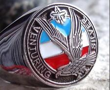 VENTURING BOY SCOUTS AMERICA EAGLE SCOUT RING STEEL SILVER MEDAL PIN PATCH D48