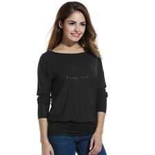 Women Casual Boat Neck Batwing Sleeve Solid Draped Blouse Dolman Top OO5502