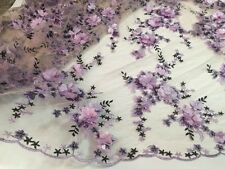 3D Flowers Beaded Sequins Tulle Embroidery Lace Fabric 51'' Wide Bridal Dresses