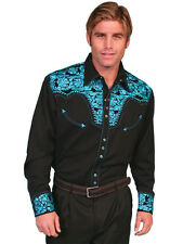Scully Mens Embroidered Western Shirt Turquoise Perl Snap P-634 S M L XL XXL