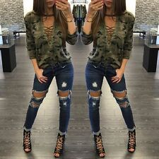 Womens Loose V Neck T Shirt Long Sleeve Camouflage Blouse Print Tops Shirts