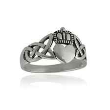Celtic Knot Claddagh Ring - 925 Sterling Silver, Sizes 6-9, Heart with Crown