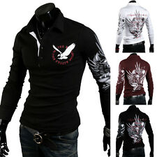 Brand New Men Printing Eagle Tattoo Stand-Collar Long Sleeve Polo Slim Fit Shirt