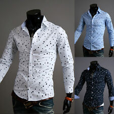New Busines Mens Luxury Stylish Casual Formal Slim Fit Polka Dot Dress Shirts