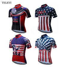 TELEYI Team Men USA Summer Bike Clothing Cycling Short Sleeve Jersey Sport Shirt