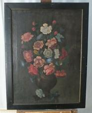 EARLY FRAMED 18TH OR 19TH CENTURY STILL LIFE OIL PAINTING OF FLOWERS.