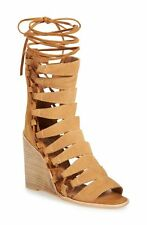 Jeffrey Campbell Zaferia Stacked Wedge Sandals Camel Suede Gladiator Tie-up