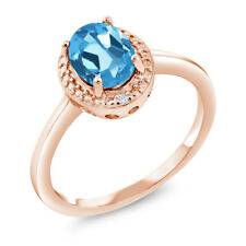 1.41 Ct Oval Swiss Blue Topaz White Diamond 18K Rose Gold Plated Silver Ring