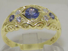 Solid 14K Yellow Gold Natural Tanzanite & Diamond Vintage Style Band Ring