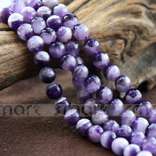 "Synthetic Amethyst Gemstone Round Loose Beads 15.5"" Inches Strand 6,8,10,12mm"