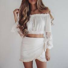 New Chic Women Lace Chiffon Long Sleeve Shoulder Off Blouse Tops Crop Top