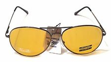 Air Force Men Women Unisex Aviator Sunglasses Yellow Lens Metal Frame Black