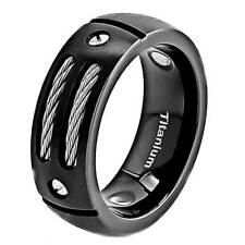 8mm Dome Top Satin Black Titanium Ring Steel Cable & Net Head Inlay Band