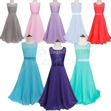 Girls Formal Party Lace Maxi Dresses Kids Wedding Bridesmaid Party Ball Gown
