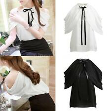 Plus Size Women Chiffon Off Shoulder Halter Top O-Neck Bow Ruched Casual Blouse