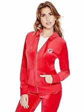 Guess Womens Stretch Velour Zip Hoodie Jacket Sweatshirt Jumper S or M Red NWT