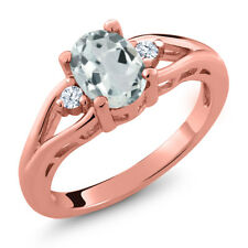 1.18 Ct Oval Sky Blue Aquamarine White Topaz 18K Rose Gold Plated Silver Ring