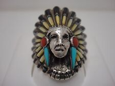 Vintage Inlaid Indian Head Ring - Onyx Turquoise MOP Coral - RN (AK)