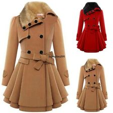 New Fashion Women Faux Fur Lapel Double-Breasted Thick Trench Coat Jacket OO5501