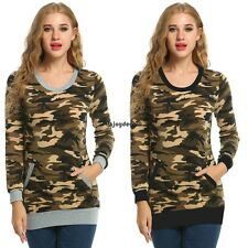 Women Casual O-Neck Long Sleeve Camouflage Print Slim Blouse Tops with OO5501