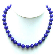 """SALE Beautiful! Big 10mm Round high quality Natural Blue Jade 18"""" necklace-5817"""