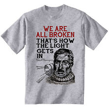 ERNEST HEMINGWAY BROKEN QUOTE - NEW COTTON GREY GREY TSHIRT