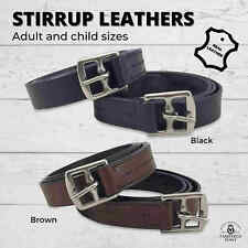 """NEW English STIRRUP LEATHERS *Black or Brown Leather* CHILD ADULT 42"""" 54"""" & 56"""""""