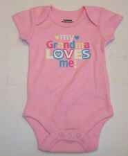 INFANT BABY GIRL SHORT SLEEVE ONE PIECE  BODYSUIT MY GRANDMA LOVES ME (pink)