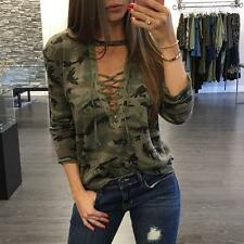 Fashion Womens Loose V Neck T Shirt Long Sleeve Camouflage  Blouse Print Tops