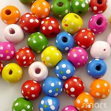 100/500pcs Mixed Colour Round Shape With Dots Wooden Beads Eco-friendly Paint