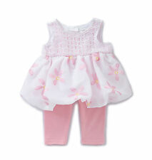 Sweet Heart Rose Baby Girls 2-Piece Pink Floral Crochet Dress & Legging Set