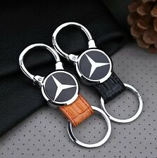 For Benz Elegant Fashion Genuine Leather Metal Car Keychain Car Key Ring