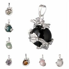 For Necklace Retro Natural Gemstone Beads Wrap Inlaid Ball Bead Stone Pendant