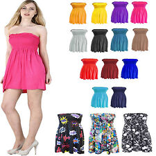 Womens Plus Size Sheering Boobtube Bandeau Ladies Strapless Top Vest Dress 8-22