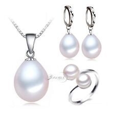 925 Sterling Silver Freshwater Natural Pearl Necklace Ring Earrings Jewelry Set