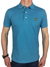 Lyle & Scott Mens Logo Branded Cotton Polo Shirt in Pacific Blue Marl