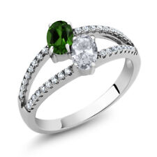 1.36 Ct Oval Green Chrome Diopside White Topaz 925 Sterling Silver Ring