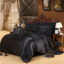 Luxury Bedding Silk Satin Solid Black Duvet Cover Set Queen/King 4pcs Bedclothes