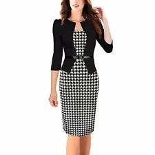 Office Pencil Dress Belted Tunic Mid Women Ladies Formal Bodycon Patterned Dress