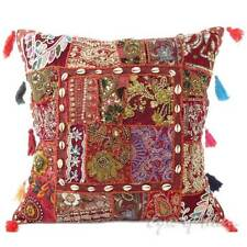 "20"" Brown Decorative Patchwork Sofa Throw Pillow Cushion Cover Indian Bohemian B"