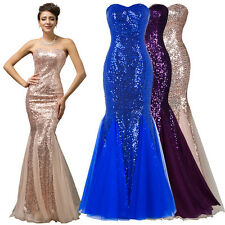 Sequins Mermaid Dresses Wedding Bridesmaid Prom Dress Long Evening Ball Gown New