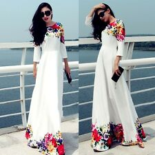 Women Summer Boho Floral Cocktail Party Evening Long Maxi Dress Chiffon Dresses
