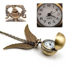 Antique Golden Snitch Quartz Pocket Watch Wings Necklace Chain (Box) AU